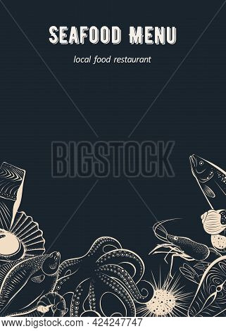 Menu Template For Seafood Restaurant, Cafe And Fish Market On A Blackboard Background. Sketches Of F