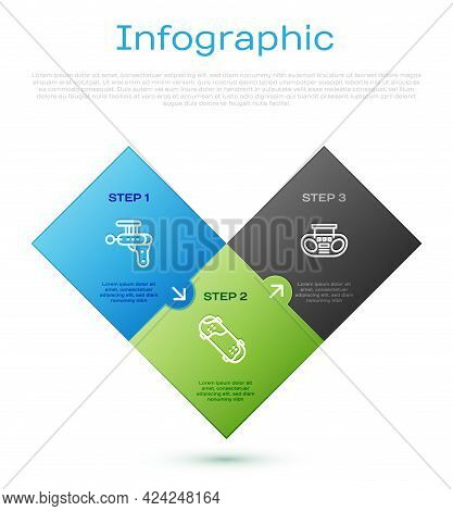 Set Line Ray Gun, Home Stereo With Two Speakers And Skateboard Trick. Business Infographic Template.