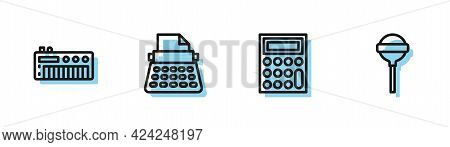 Set Line Calculator, Music Synthesizer, Retro Typewriter And Lollipop Icon. Vector