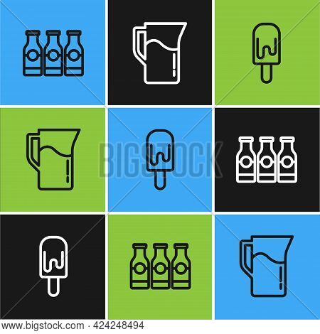 Set Line Bottle With Milk, Ice Cream And Milk Jug Or Pitcher Icon. Vector