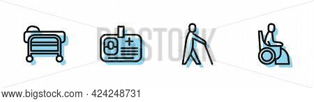 Set Line Blind Human Holding Stick, Stretcher, Identification Badge And Woman Wheelchair Icon. Vecto