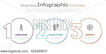 Set Line Burning Candle, Donate Or Pay Your Zakat And Octagonal Star. Business Infographic Template.