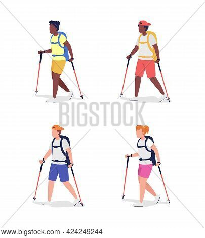 Trekkers Semi Flat Color Vector Character Set. Hikers Figures. Full Body People On White. Outdoor Ac