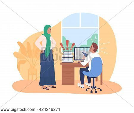 Mother Argue With Procrastinating Teenager 2d Vector Isolated Illustration. Kid Playing Computer Gam