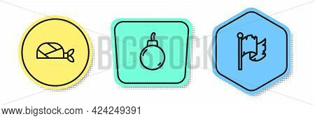 Set Line Pirate Bandana For Head, Bomb Ready To Explode And Flag. Colored Shapes. Vector