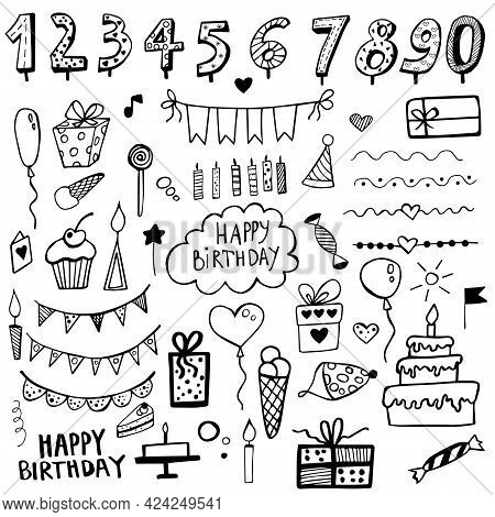 Birthday Doodle Set Hand Drawn. Drawn Birthday Symbols. Party Vector Background. Collection Of Birth
