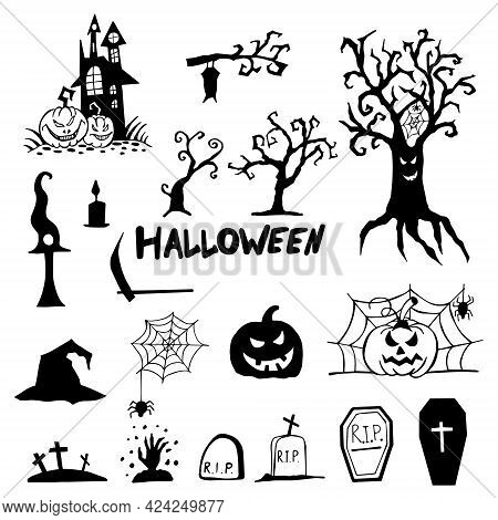 Halloween Doodle Set Hand Drawn. Halloween Vector Collection Of Holiday Symbols. Pumpkin, Graves, Gh