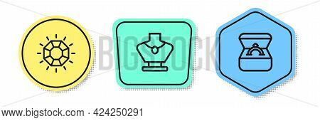 Set Line Diamond, Necklace Mannequin And Engagement Ring Box. Colored Shapes. Vector