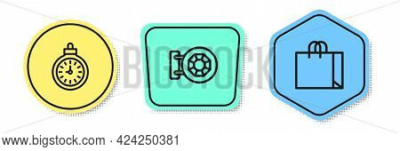 Set Line Pocket Watch, Jewelry Store And Shopping Bag Jewelry. Colored Shapes. Vector