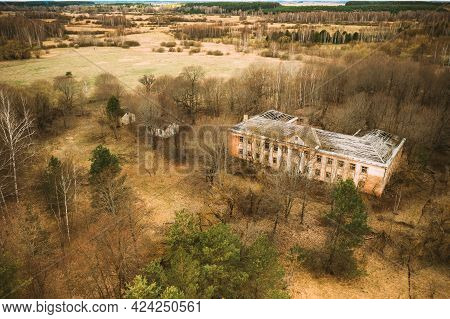Belarus. Aerial View Of Abandoned Former Administrative Building In Chernobyl Zone. Nuclear Chornoby