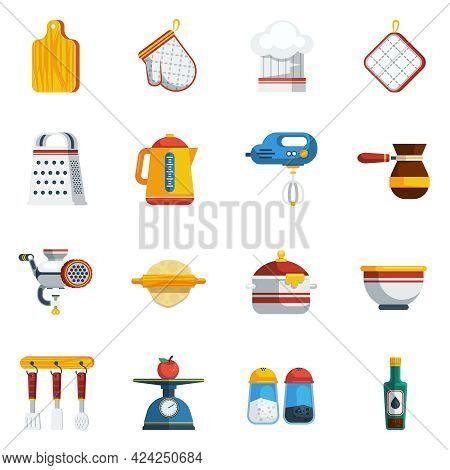 Kitchen Utensils Icons Set. Kitchen Utensils Vector Illustration. Cooking Flat Symbols. Kitchen Uten