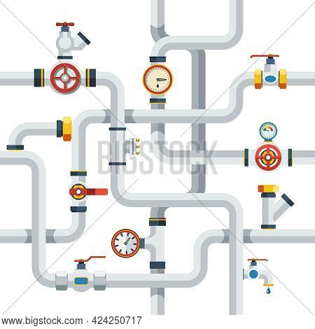 Pipes System Concept. Pipes Vector Illustration.pipes Flat Symbols. Pipes Design Set. Pipes System D