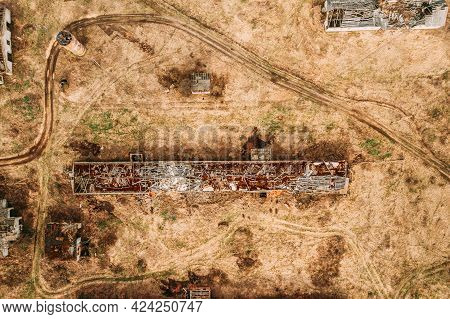 Belarus. Abandoned Barn, Shed, Cowshed, Farm House In Chernobyl Resettlement Zone. Chornobyl Catastr