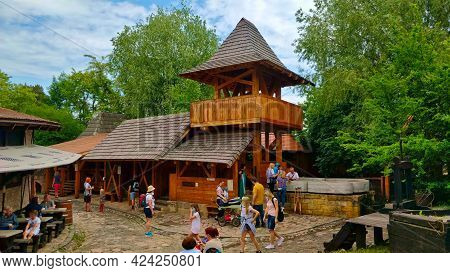 Ostra, Czech Republic - June 5, 2021: Wooden Medieval Tower In Botanicus Which Is Part Of A Middle-a