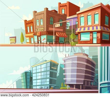 Modern And Historical City Districts Street View Day Skyline 2 Horizontal Banners Set Cartoon Isolat