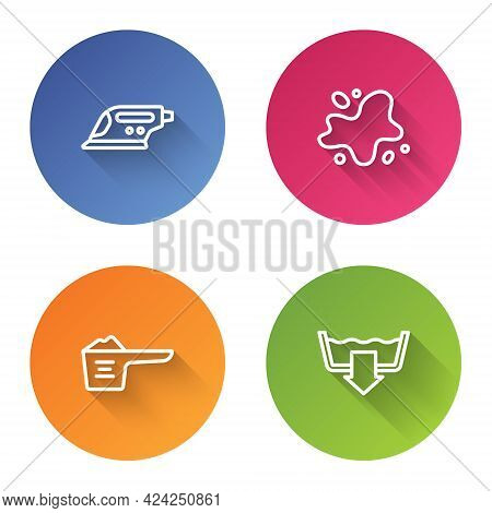Set Line Electric Iron, Water Spill, Washing Powder And Modes. Color Circle Button. Vector