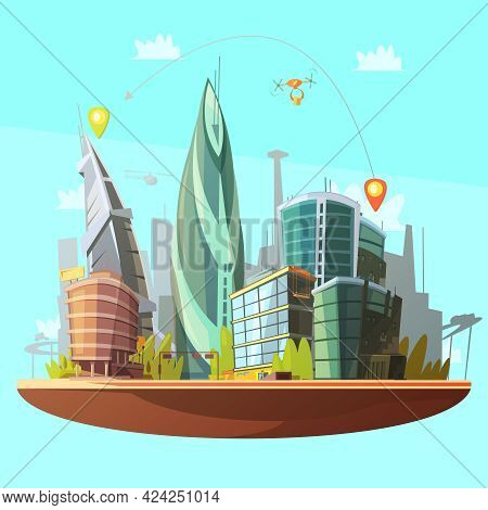 Modern City Downtown Buildings Distinctive Skyline And Services Concept With Drone Parcels Delivery