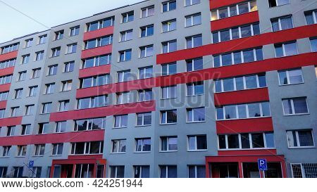 Prague, Czech Republic - June 9, 2021: A Typical Czech Communist Style Block Of Flats Decorated With