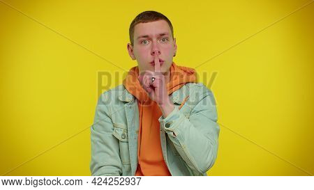 Keep My Secret. Do Not Tell Anyone. Shh Be Quiet Please. Teenager Student Boy 20s Years Old Presses