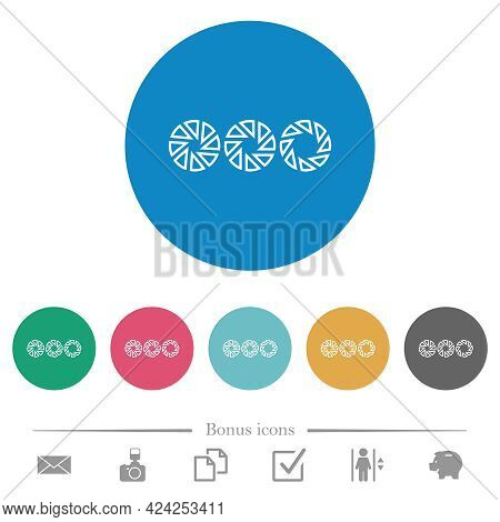 Set Aperture Size Flat White Icons On Round Color Backgrounds. 6 Bonus Icons Included.