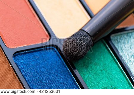 Colourful Eyeshadow Makeup Paletteclose Up Macro With Brush. Make Up Artist Tools