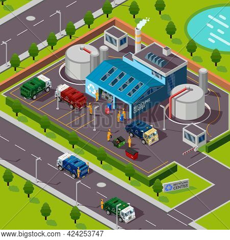 Recycling Plant Isometric Top View With Trucks Transporting Garbage For Processing In Incinerator Ve
