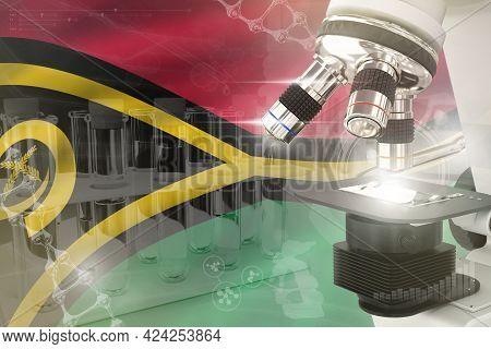 Microscope On Vanuatu Flag - Science Development Digital Background. Research Of Microbiology Design