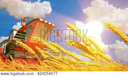 Combine Harvester On Wheat Field On Sunny Day . Fictive Digital Industrial 3d Rendering