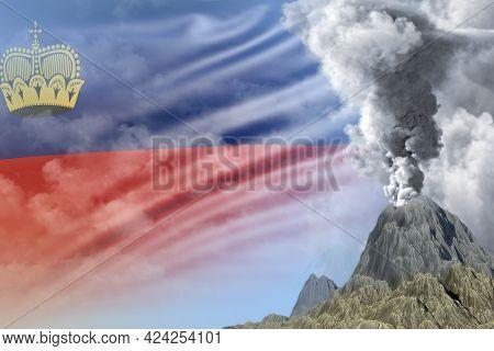 Big Volcano Eruption At Day Time With White Smoke On Liechtenstein Flag Background, Suffer From Natu
