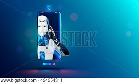 Artificial Intelligence In Phone. Mobile Online Chat Bot In Smartphone. Cyborg Or Robot With Ai Look