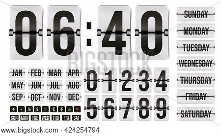 Flip Time Counter Calendar With Number, Month, Day Element. Set Of Countdown Hour And Minute Digit,