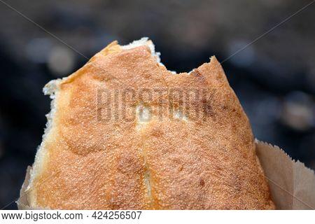 Georgian Bread With A Golden Brown Crust. Georgian Bread Bitten From The Side. Bread Flatbread Close