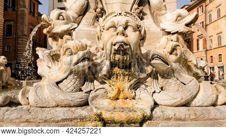 Rome, Piazza Della Rotonda. Details Of The Phanteon Fountain, Designed By Giacomo Della Porta And Ex