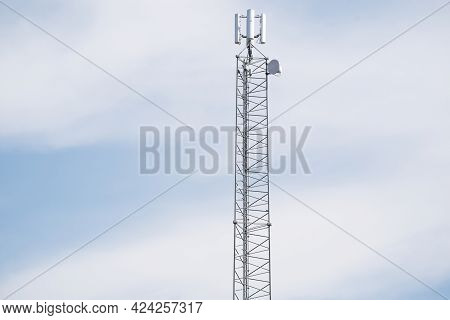 Telecommunication Tower Of 4g And 5g Cellular. Cell Site Base Station. Wireless Communication Antenn
