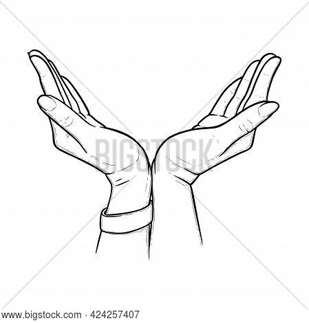 Gesture Expressing Protection, Care, Support And Safety. Hand Symbol Of Love And Compassion In Sketc