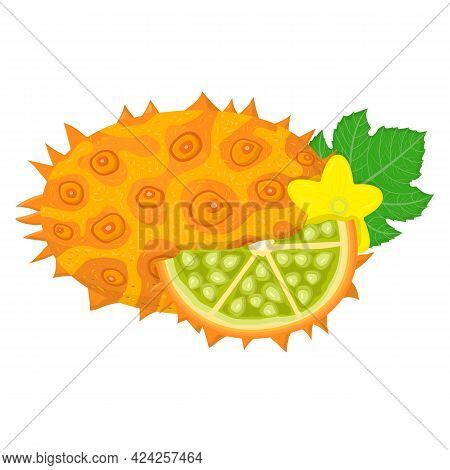 Fresh Whole And Cut Sliced Yellow Kiwano Fruit Isolated On White Background. Summer Fruits For Healt
