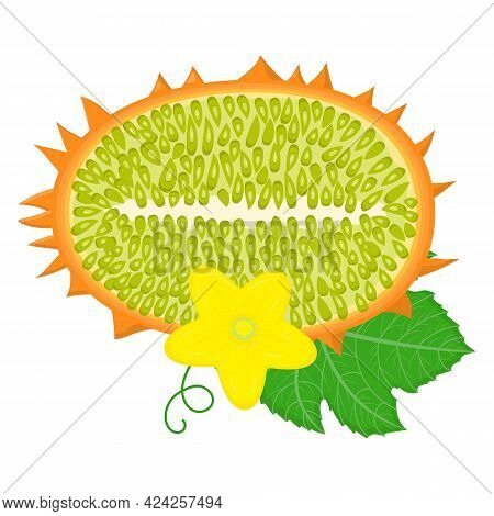 Fresh Half Cut Yellow Kiwano Fruit With Leaf And Flower Isolated On White Background. Summer Fruits