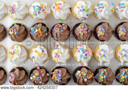 High Angle View Rows Of Chocolate And Vanilla Cupcakes Making Background