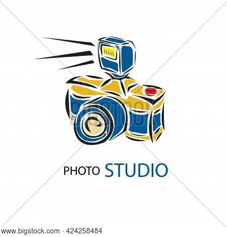 Camera Vector And Photo Film Vector Icon Of Retro Photograph Camera With Flash Light, Photo Capture