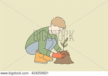 Ecological Care And Growing Plants Concept. Little Boy Cartoon Character In Gloves Sitting Growing T