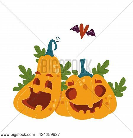 Pumpkin Lovers With A Heart With Wings Above Them. A Married Couple Of Pumpkins. Halloween Party Dec