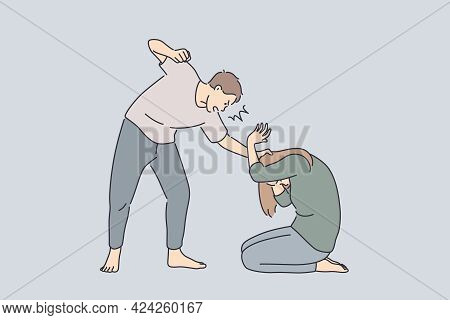 Family Abuse And Fighting Concept. Angry Man Husband Cartoon Character Standing Bitting Scared Winab