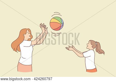 Motherhood And Summer Activities Concept. Female Mother And Daughter Cartoon Characters Playing Bal