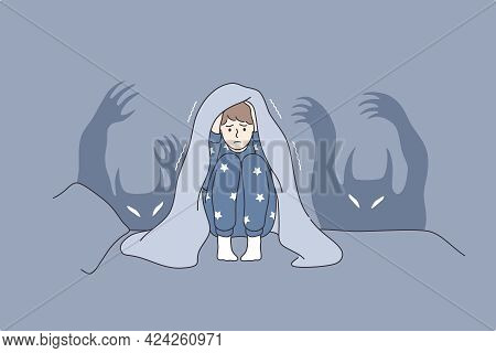 Children Nightmares And Fears Concept. Afraid Kid Cartoon Character Sitting In Bed Covering Head Wit