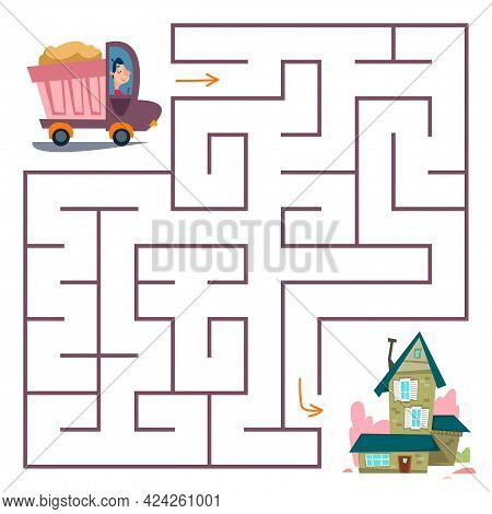 The Truck Drives Home Through The Maze. A Square Maze With A Transport Puzzle For Children. Labyrint