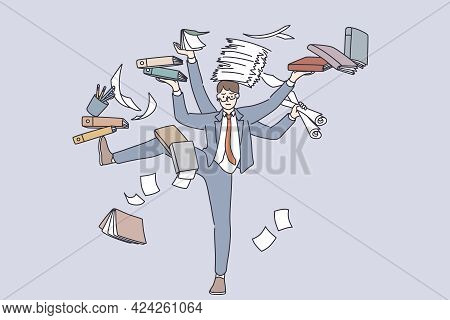 Business Multitasking And Time Management Concept. Young Frustrated Businessman Cartoon Character St
