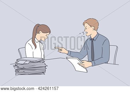Conflict At Work And Angry Boss Concept. Furious Director Businessman Sitting And Swearing At Sad Un