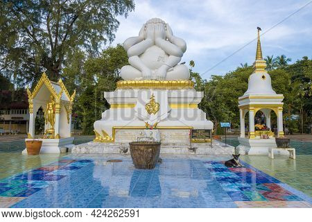 Cha Am, Thailand - Dec 10, 2018: View Of The Six-armed Fat Buddha Statue N The Wat Neran Chararam Bu
