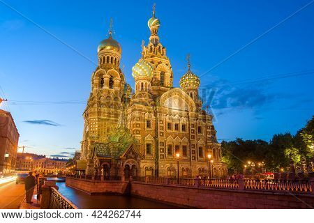 View Of The Cathedral Of The Resurrection Of Christ (spas-on-blood) On A White Night. St. Petersburg