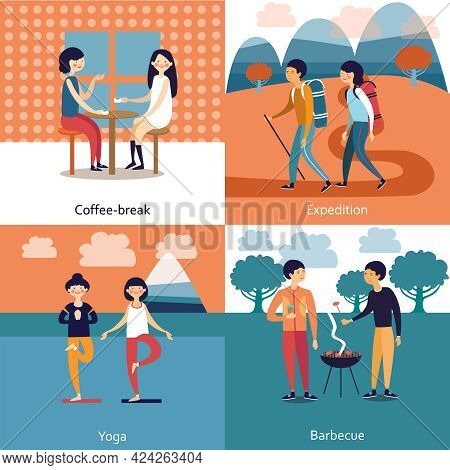 Pastime Of Friends Concept With Coffee Break Barbecue Expedition Yoga Isolated Vector Illustration